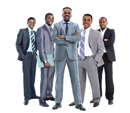 happy african: group of african american businessmans