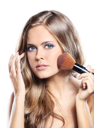 beautiful lips: beauty girl with makeup brushe