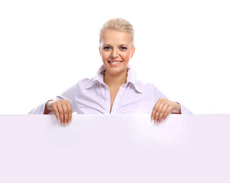 Blonde woman holding the blank billboard for any message  photo