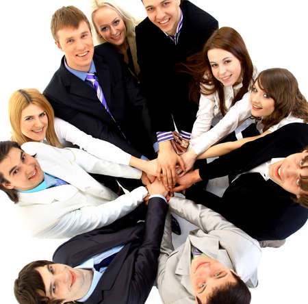 Top view of business people with their hands together in a circle photo