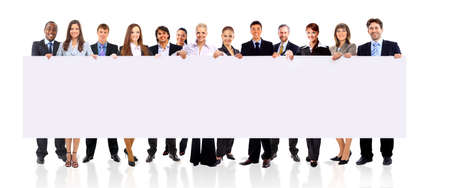 professionals: Business team with a banner isolated over a white background