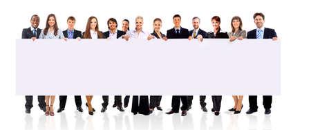 Squadra di affari con un banner isolato su uno sfondo bianco  Archivio Fotografico