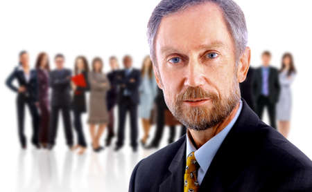 chairman: business man and his team isolated over a white background  Stock Photo