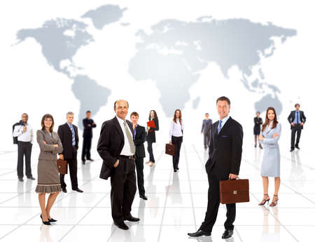 globetrotter: Businessmen standing in front of an earth map  Stock Photo