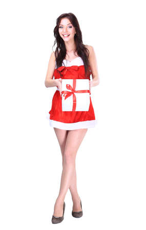 doctor holding gift: Santa girl with Christmas gifts