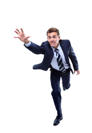man jump: Happy running businessman. Isolated on white background.