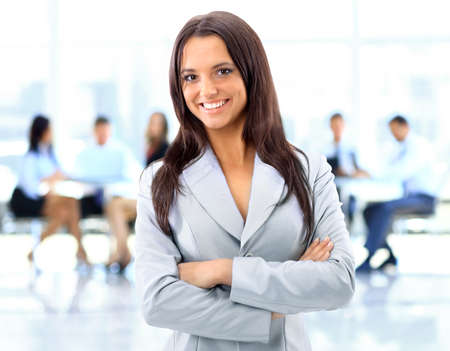 female boss: Business woman with her staff