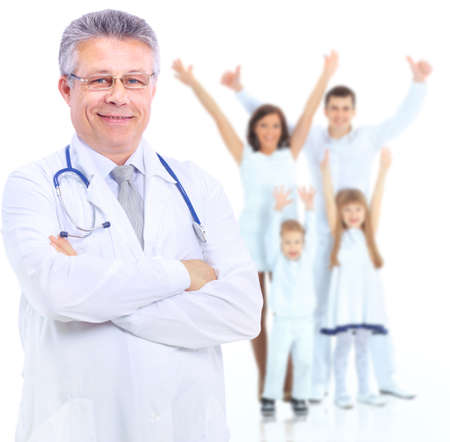 Smiling medical doctor  Isolated over white background photo