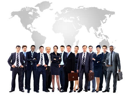 laptop stand: Large group of business people. Isolated over white Stock Photo