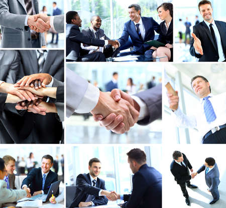 businessman in office: Business people shaking hands