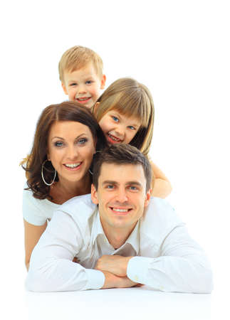 Beautiful happy family - isolated over a white background Stock Photo
