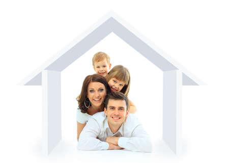 Glückliche Familie in ihrem eigenen Haus-Konzept