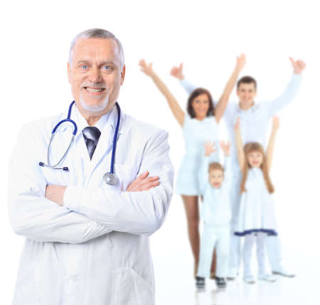 family health: Family doctor and patients. Health care. Isolated over white background.