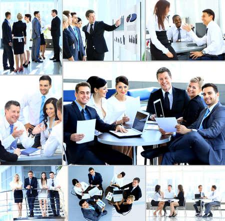 近代的なオフィスの会議を持つビジネスマン