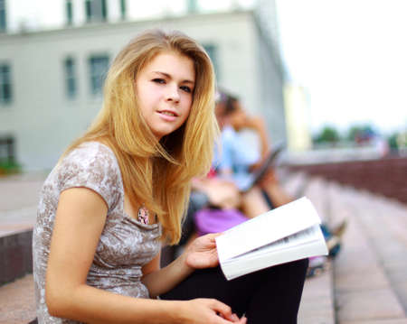 studygroup: Portrait of a beautiful young female studen Stock Photo