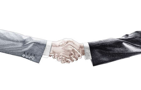 pictured: pictured handshake isolated on white background