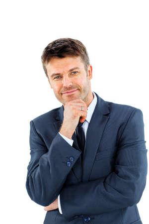 幸せな笑みを浮かべてビジネス男、白い背景で隔離の肖像画