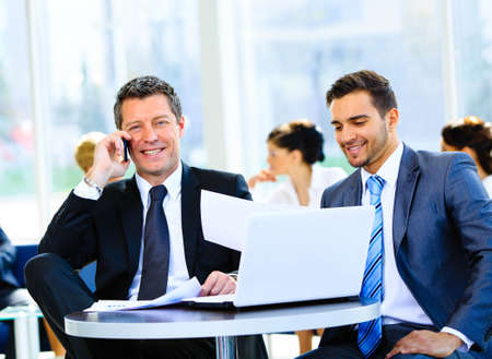 sales team: Businessman talking on the phone