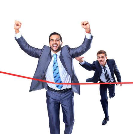 幸せな実業家を実行を介してラインを終えたします。白で隔離されます。