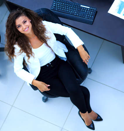 up view: business woman. Top view