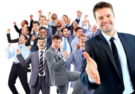 幸せなビジネス グループ。開いた手と準備に手を振るリーダー
