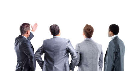 cross ties: four business mans from the back - looking at something over a white background