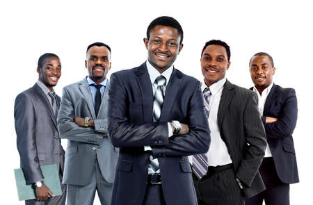 black business man: Confident African American Business Team isolated on white background