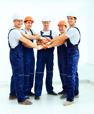 industry workers: Group of professional industrial workers Stock Photo