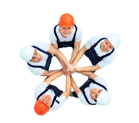 group of workers: Large group of workers standing in circle