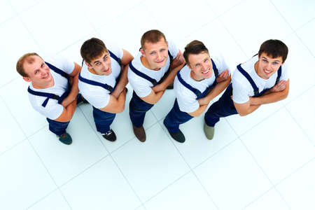 Industrial workers: Group of professional industrial workers. top view