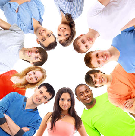 super woman: Low angle view of happy men and women standing together in a circle