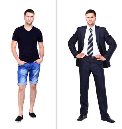 nice guy: the photograph depicts a young man in casual clothes, close depicts a young man in a suit