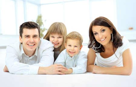 happy smiling: smiling happy family
