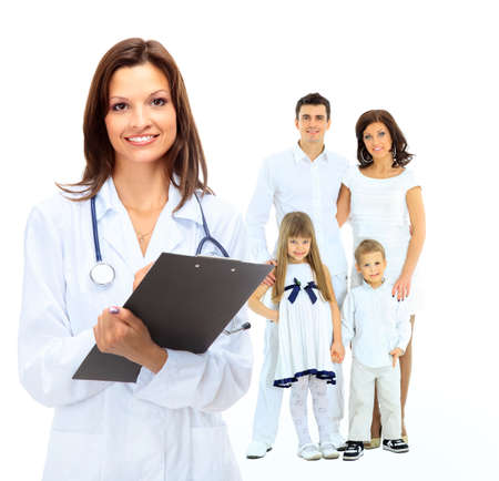 medical doctor: female family doctor on the background of a happy family Stock Photo