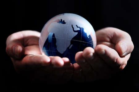 glass globe: glass globe in hand Stock Photo