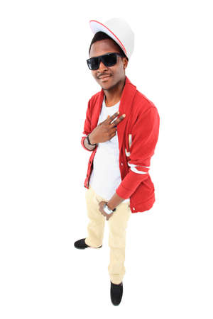 hand on hip: African American hip hop dancer over white background Stock Photo