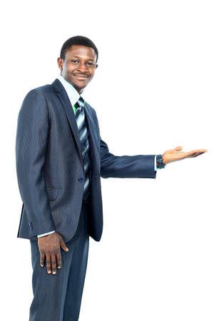 Hombre de negocios con la palma abierta que ofrece algo Foto de archivo - 49499579