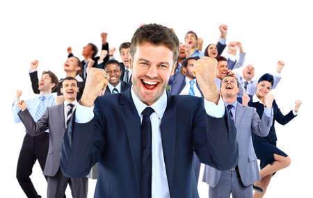 casual business man: large business team celebrating success with arms raised isolated against white background