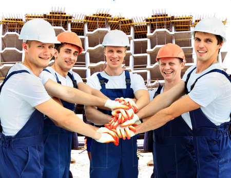 workers group: Group of professional construction workers
