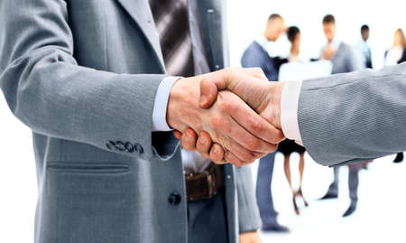 hand with money: Business handshake and business people Stock Photo