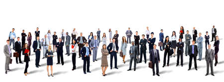 large: Group of business people. Isolated over white background Stock Photo