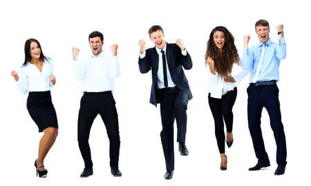 非常に幸せなビジネス人々 ジャンプと白い背景に対して自分の拳を噛みしめ