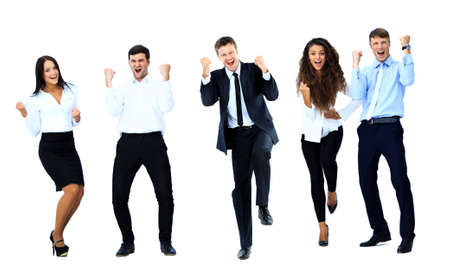 Very happy business people jumping and clenching their fists against white background Stock Photo