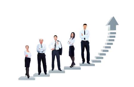 Equipo de negocios está de pie en un gráfico Foto de archivo - 52955484