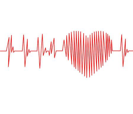 心血管の健康診断の心電図パルス トレースと心コンセプト