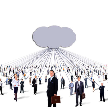 large group of business people and cloud computing and technology concept photo