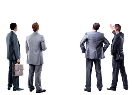 working men: four business mans from the back