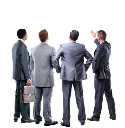 left behind: four business mans from the back - looking at something over a white background