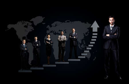 businesspeople: business team is standing on a graph