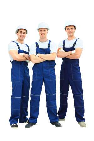 service man: Group of professional industrial workers Stock Photo